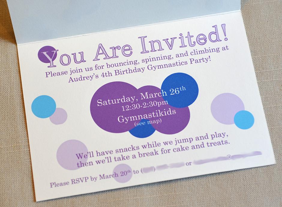 Audrey's 4th Invitation Interior