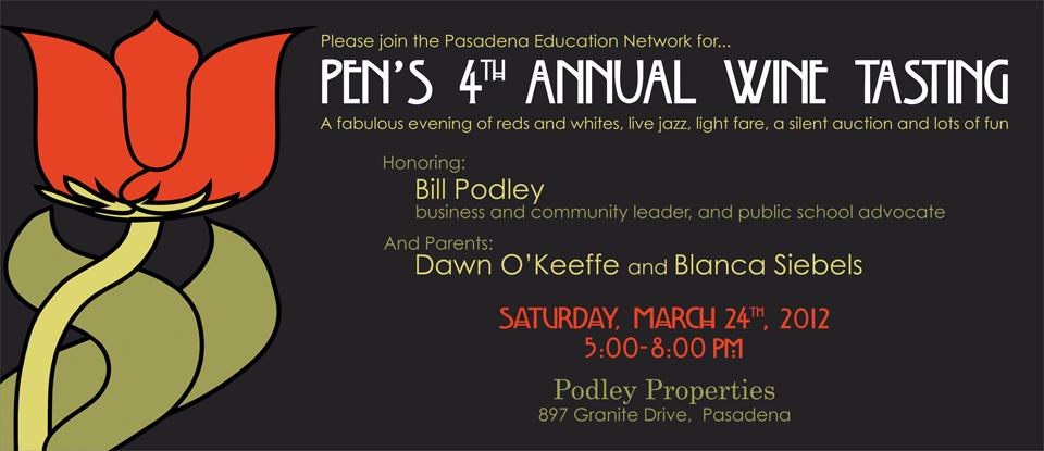 PEN's 4th Annual Wine Tasting Benefit - Invite Front
