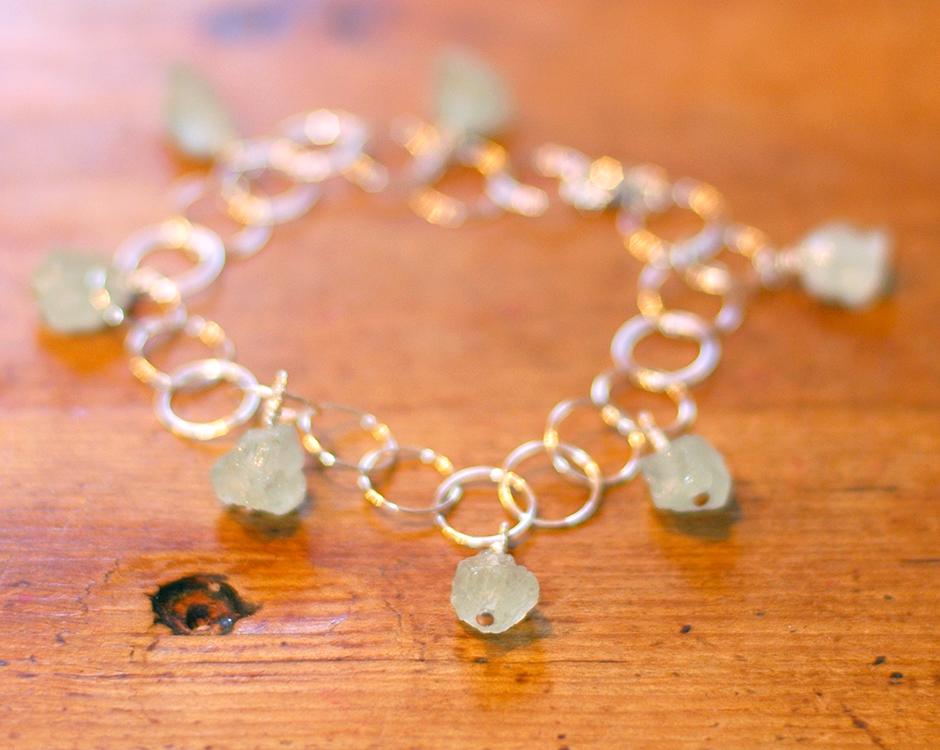 Aquamarine + Sterling Silver Bracelet