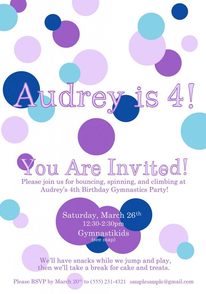 Audrey's 4th Invitations (Digital Version)