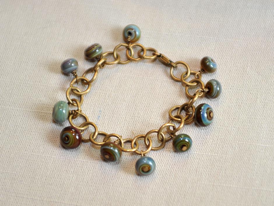 Glass Bead + Antique Brass Bracelet